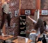 Watch this. Mad woman goes telekinectic in NY Coffee Shop